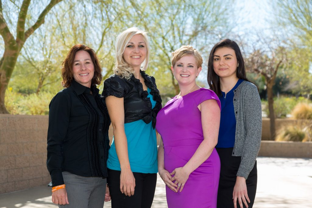 HARC staff from left to right: Theresa Sama, Executive Assistant; Dr. Cassaundra (Casey) Leier, Director of Research; me aka Dr. Jenna LeComte-Hinely, Chief Executive Officer; and Ivy Torres, Research and Evaluation Associate.